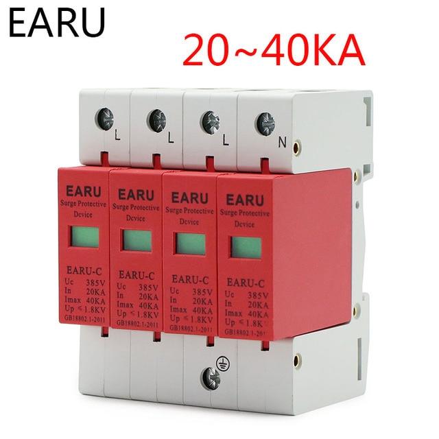 1pc AC SPD 3P+N 4P 20KA~40KA 385V House Lightning Surge Protector Protection Protective Low-voltage Arrester Device OEM Factory