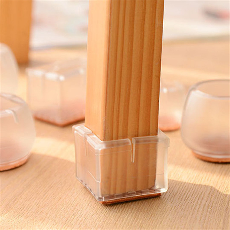 4pcs Silicone Chair Leg Caps Rectangle Square Round Feet Pads Furniture Table Covers Wood Floor Protectors Home Funiture Sillas