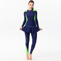 Beach Dress Surfing 2 Pieces Bathing Suit 2019 Mujer Long Sleeve Rash Guards Sport Plus Size Tankini Sets Pants Swimwear Women