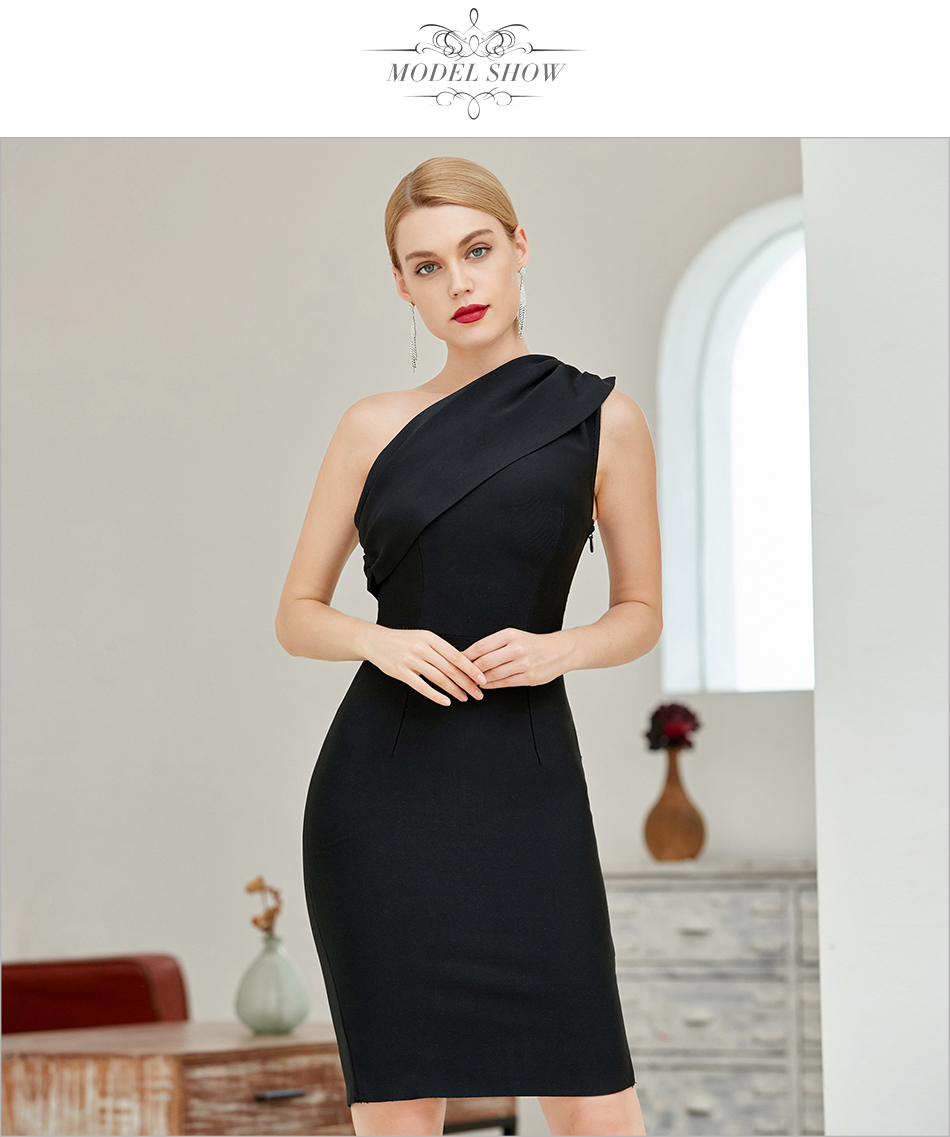 H0a5fc02aa1eb4e7fa8b44cfa2cfd77256 - Adyce 2020 New Summer Black One Shoulder Bandage Dress Women Sexy Sleeveless Bodycon Club Nude Celebrity Evening Party Dresses