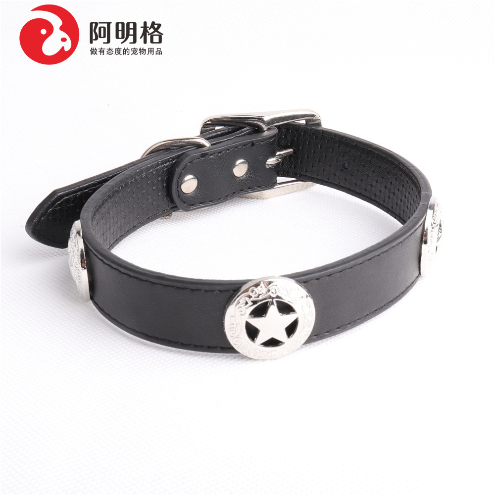 Amin Lattice Pet Collar Genuine Leather Dog Neck Ring-Collocation Large Dog Hand Holding Rope Dog Supplies