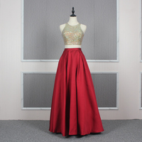 Ready To Ship Two Piece Jewel Sleeveless Red Long Gown Party Wear Prom Dress with Pocket