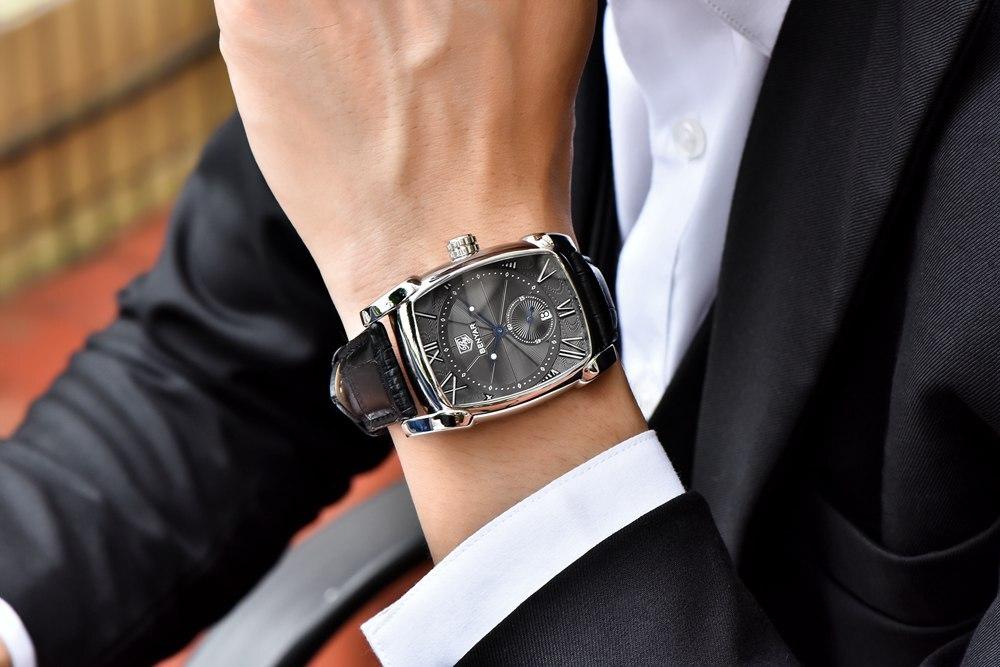 Watch Business carré étanche bracelet cuir