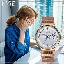Часы lige женские кварцевые с сетчатым ремешком брендовые Роскошные