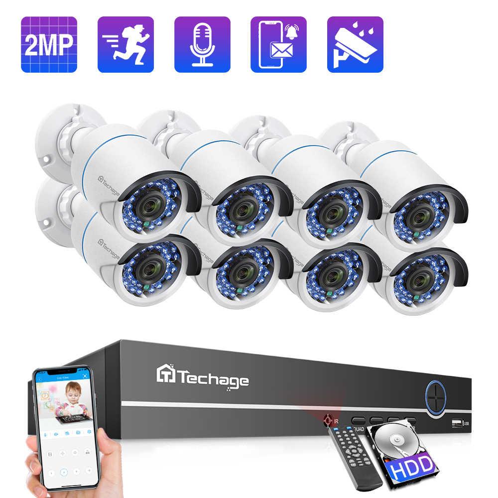 Techage 8CH 1080P POE NVR 시스템 IP 카메라 2MP 오디오 사운드 녹화 CCTV 비디오 감시 키트 야외 IR 밤 홈 보안 세트