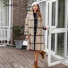 Simplee элегантное клетчатое женское твидовое пальто с пуговицами и карманами, осенне-зимнее женское пальто из смесовой ткани с v-образным вырезом, женские офисные теплые длинные пальто