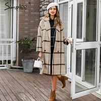 Simplee Elegant plaid women tweed coat Buttons pockets autumn winter female blend coats V neck office ladies warm long overcoats
