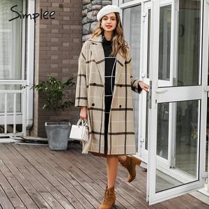 Image 2 - Simplee Thanh Lịch Kẻ Sọc Nữ Tweed Phối Nút Túi Thu Đông Nữ Phối Áo Khoác Cổ V Công Sở Nữ Dài Ấm Áp Overcoats