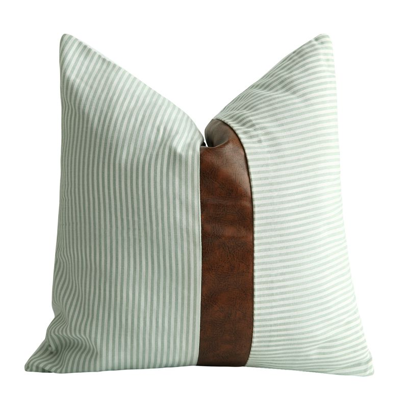 Farmhouse Decorative Throw Pillow Covers For Couch Sofa Stripe Faux Leather Accent Pillow Cover Modern Decor Case Outdoor Furniture Cushions