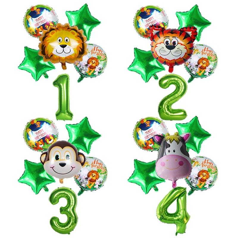 Juego de globos de helio con diseño de números de la selva, decoración de una fiesta de cumpleaños, Globo Verde, Safari, fiesta de temas de zoológico, Baby Shower, decoración del hogar