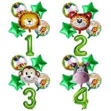 Jungle Nummer Folie Ballon Helium Sets Wilde Een Verjaardagsfeestje Decor Groene Ballon Safari Zoo Thema Party Baby Shower Thuis decor