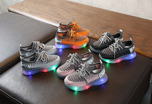 LED Kids Sneakers Breathable Glow Boys Girls Sport Shoes Children Casual Sneakers Baby Running Shoes Mesh Canvas Shoes new spring kids shoes breathable boys girls sport white canvas shoes children casual shell head sneakers baby running shoes