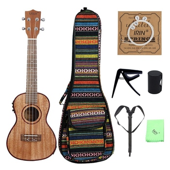 Irin 24 inch Ukulele Ukelele Uke Kit Sapele Wood with Lcd Eq Including Carrying Bag Capo Strings Strap Finger Maraca Cleaning Cl