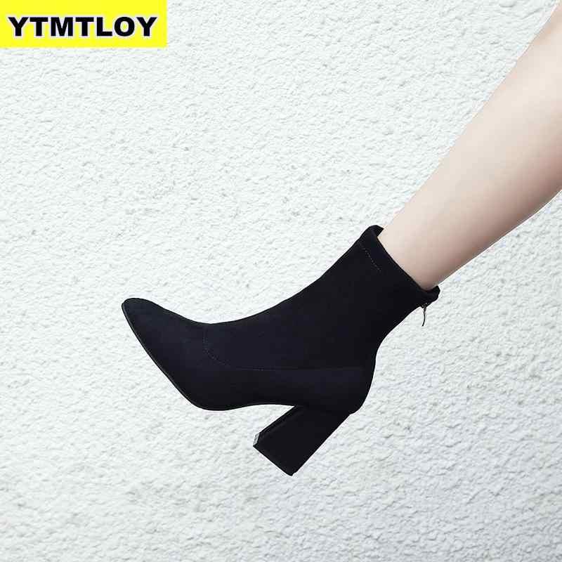 Moda kadın yarım çizmeler kalın topuklu ayakkabı kadın yeni sivri burun bayanlar ayakkabı marka Martin çizme kadın fermuar süper yüksek
