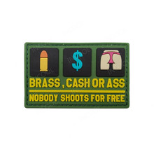 3D PVC Patch Nobody Shoots for Free Funny Letter Rubber Patches Tactical Army Military Applique Badges For Clothes Jacket