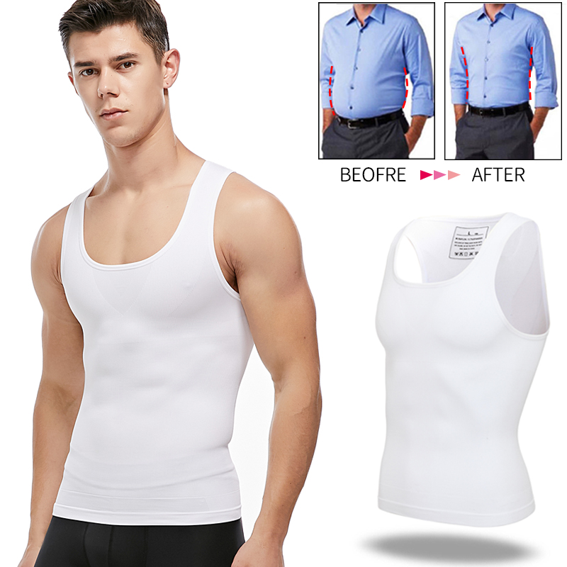Mens Slimming Body Shaper Chest Compression Shirts Tummy Control Shapewear Gynecomastia Abdomen Slim Vest Waist Trainer Corset