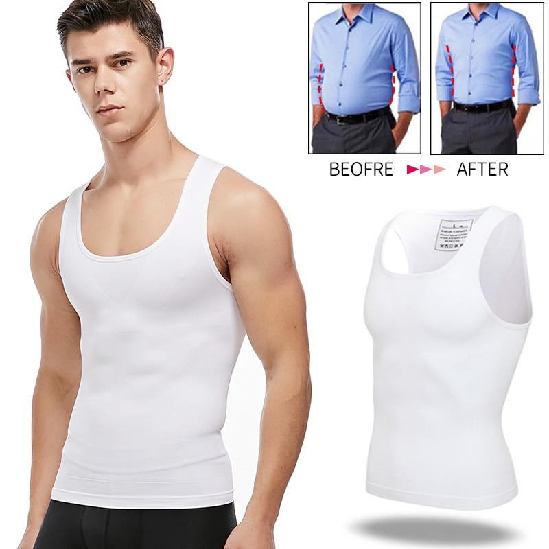 Mens Slimming Body Shaper Chest Compression Shirts Tummy Control Shapewear Gynecomastia Abdomen Slim Vest Waist Trainer Corset
