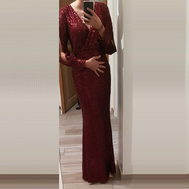 Вечернее платье, длинное, расшитое блестками, элегантное, Robe De Soiree, сексуальное, с глубоким v-образным вырезом, с разрезом, торжественное платье, полный рукав, вечернее платье LT008