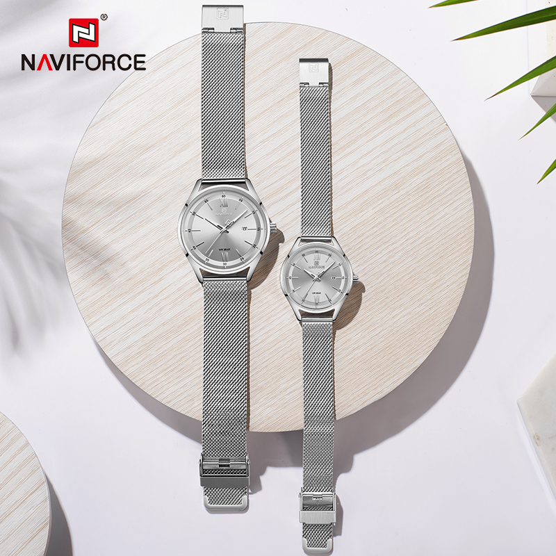 NAVIFORCE Lover's Watches Top Luxury Men Women Date Waterproof Quartz Clock Male Couple Steel Strap Wristwatch Relogio Masculino
