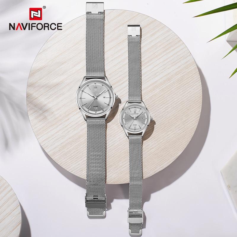 NAVIFORCE Lover's Watches Top Luxury Men Women Date Waterproof Quartz Clock Male Couple Steel Strap Wristwatch Relogio Masculino