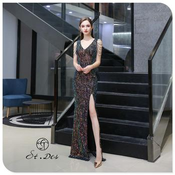 S.T.DES Evening Dress 2020 New Arrival colorful Beading Mermaid V-Neck colorful Sleeveless Floor Length Party Dress Dinner Gowns