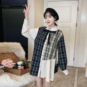 Mulher camisa de tamanho grande coreano streetwear outono xadrez retalhos topos feminino preto arco nó turn down collar camisas mais tamanho olhar