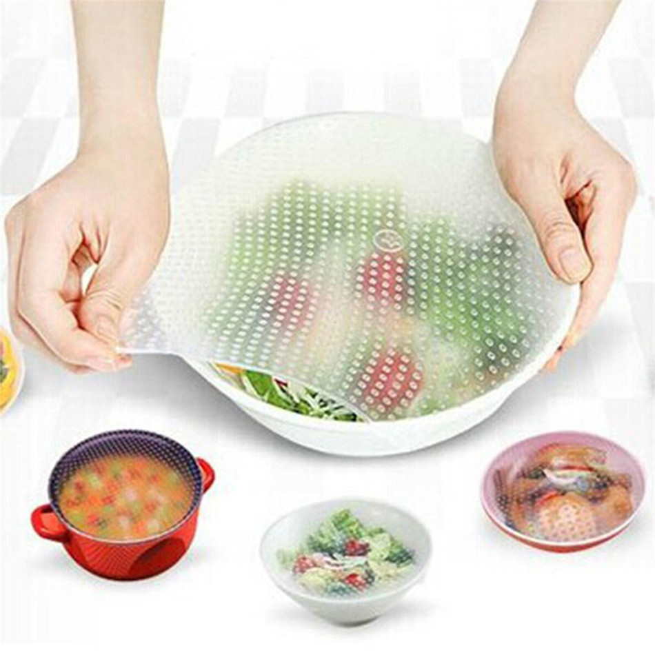 Reusable Silicone Wrap Seal Food Fresh Keeping Wrap Lid Cover Stretch Vacuum Food Wrap Bowl Cover Home Kitchen Tools