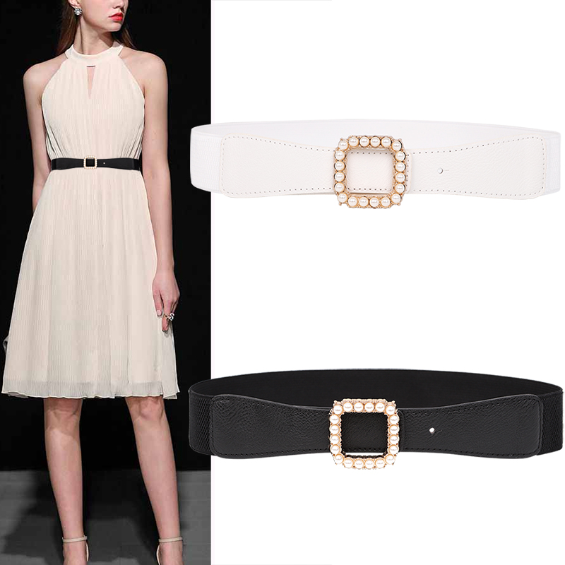 Newest Belts For Women Pearl Decoration Gold Square Buckle Waistbands Female PU Leather Belt White Waistband For Pants Dresses