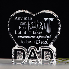 Crystal Gift Day-Present Happy-Father's Birthy Dad To for K9 Dad-Frame Giving-Keepsake
