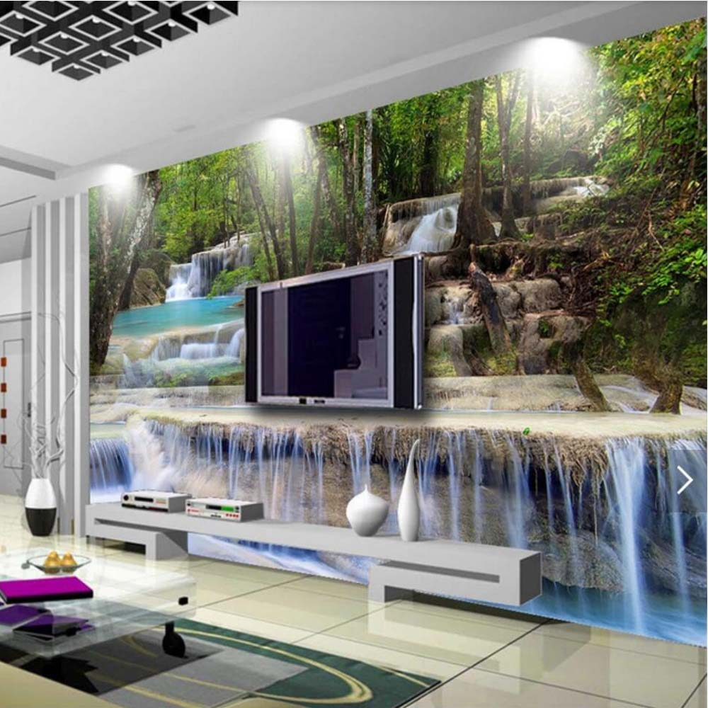 3D Photo Wallpaper Nature Waterfall Mural For Living Room Home Wall Decorative Painting Canvas Silk Cloth Landscape Murals