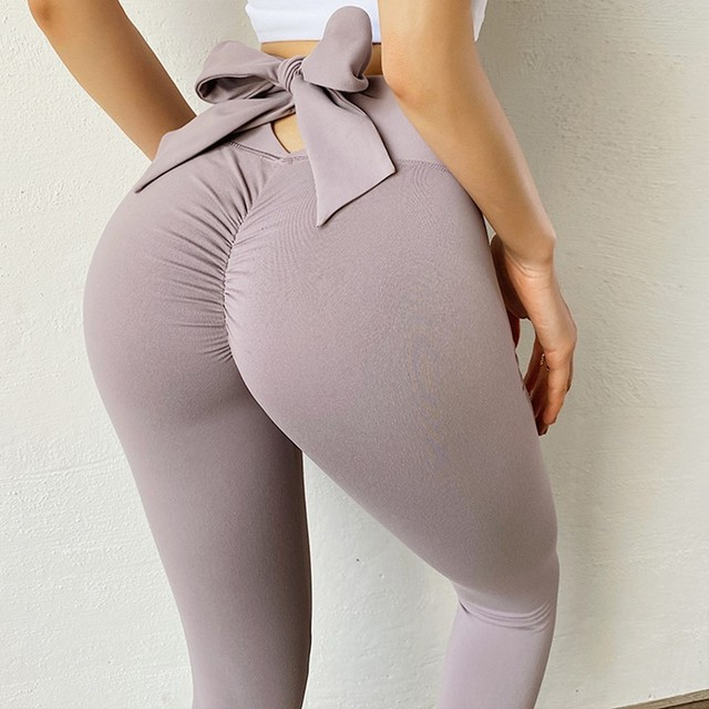 Bowknot lift hip Sports pants High Waist Yoga Leggings Scrunch Butt Workout Sports Women Fitness Leggings Gym Running Tights 5