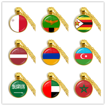 Malta Zambia Zimbabwe Latvia Armenia Azerbaijan Saudi Arabia UAE Morocco National Flag Glass Cabochon Pendant Necklace Jewelry image
