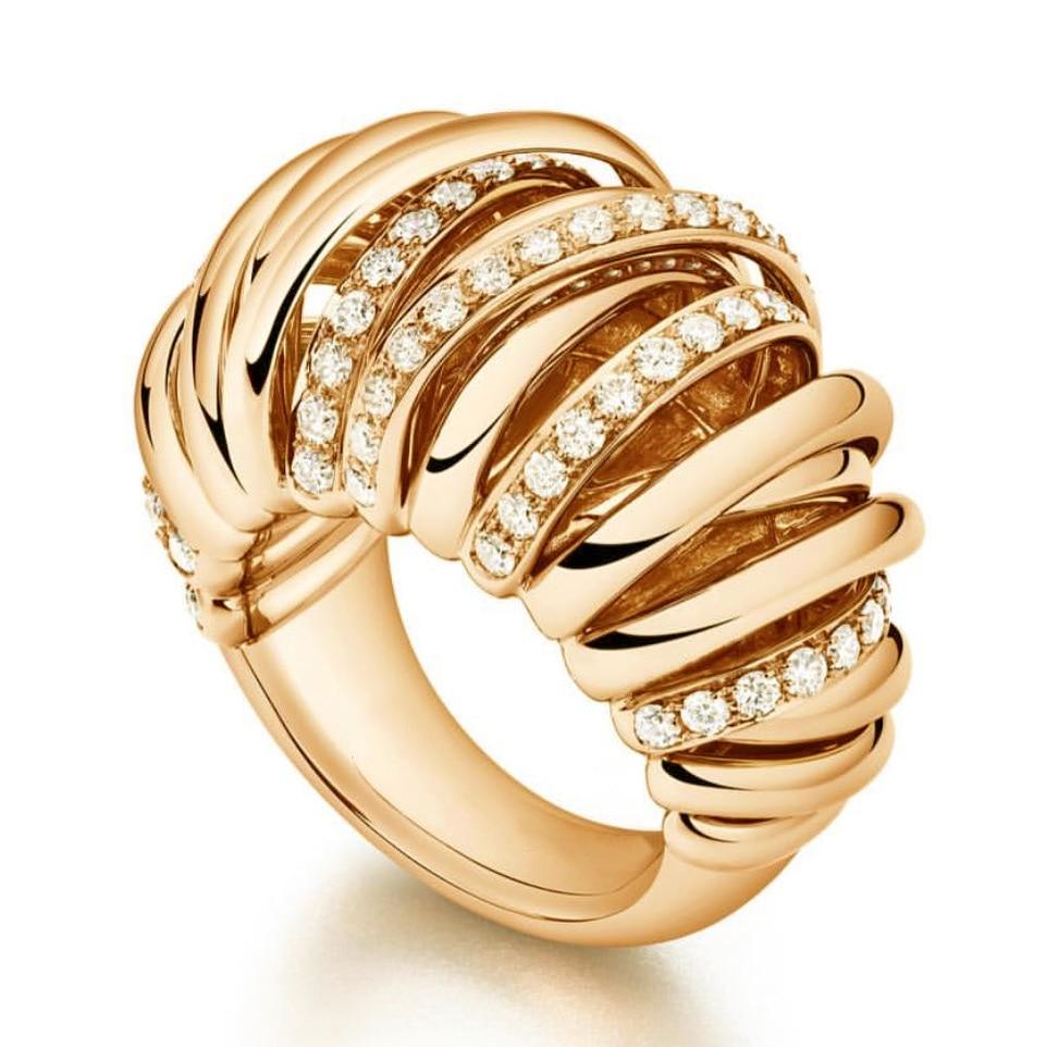 GODKI nouvelles lignes de croisement de luxe CZ cubique Zircon CZ anneaux pour les femmes de fiançailles nuptiale mariage Dubai or bagues