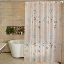 Cortina de ducha de baño moderna a prueba de agua moho PEVA cortinas de ducha estrella de mar estilo cortina de baño para cuarto de Ducha