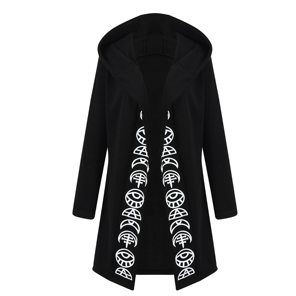 Women Long Sleeve Punk Moon Print Hooded Black Cardigan Jacket Coat Plus Size S123 Women Long Sleeve Punk Moon Print Hooded Black Cardigan Jacket Coat Plus Size S123