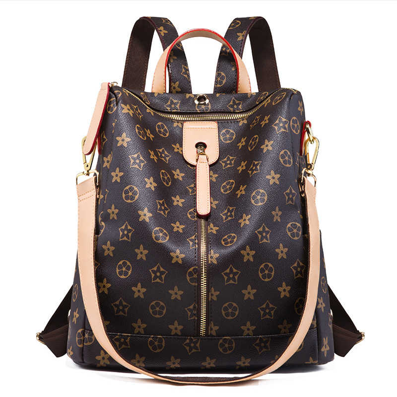 Backpack Leather Zipper Printed Pattern Casual Wild Simple  Shoulder Bag Travel Lady Backpack Brown