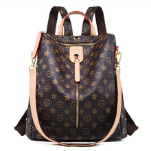 Backpack Leather Zipper Printed Pattern Casual Wild Simple Shoulder Bag Travel Lady Backpack Brown(China)