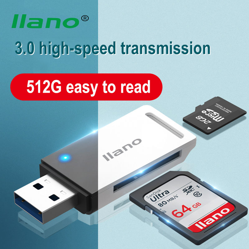 LLANO Card Reader USB 3.0 2.0 To SD Micro SD TF Memory Card Adapter For Laptop PC Accessories Multi High Speed Smart Card Reader