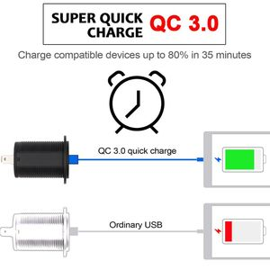 Image 3 - 12V/24V 18W Aluminum Waterproof Dual QC3.0 USB Fast Charger Socket Power Outlet with LED Voltmeter for Car Marine Truck