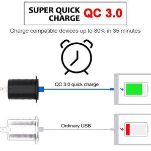 Image 3 - 12V/24V 18W אלומיניום עמיד למים כפולה QC3.0 USB מהיר מטען שקע לשקע חשמל עם LED מד מתח לרכב ימי משאית