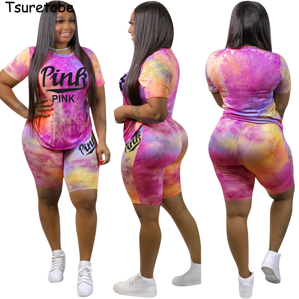 Tsuretobe Pink Letter Print 2 Piece Set Womens Outfits Tie Dye Print Birthday Suit Woman Top And Biker Shorts Sweet Matching Set