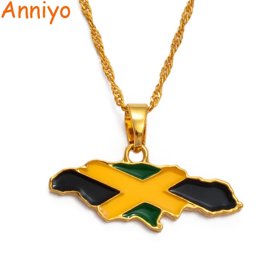 Ожерелье Anniyo с картой Ямайки и искусственными звеньями золотого цвета, ювелирные изделия, карты подарков из Ямайки #080406
