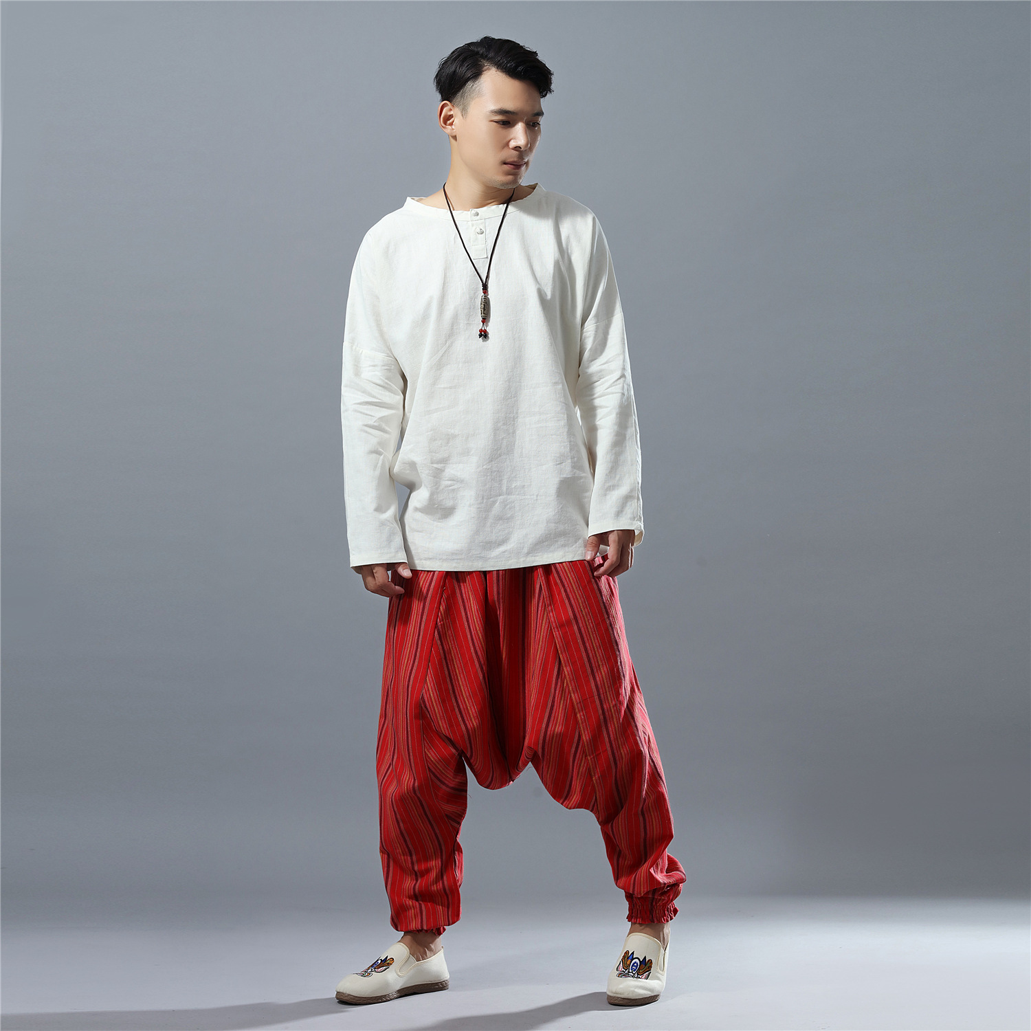 Spring Men Casual Baggy Linen Indian Harem Crotch Capri Pant Bloomers Sweatpants Unisex Jogger Fitness Workout Pant Sportswear in Yoga Pants from Sports Entertainment