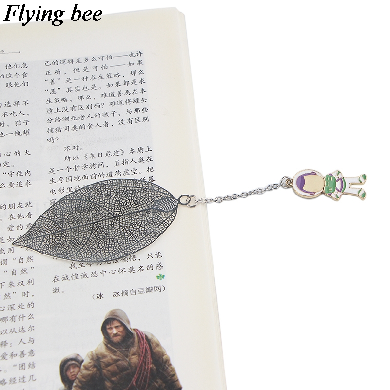 20pcs/lot Flyingbee Leave Pendant Cartoon Silver Metal Bookmarks Cool Book Markers Page Holder For Books Stationery Gifts X0791
