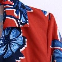 Tangada 2021 Autumn Fashion Women Red Flowers Print Elegant Midi Dress Long Sleeve Office Ladies Dress BE375 2