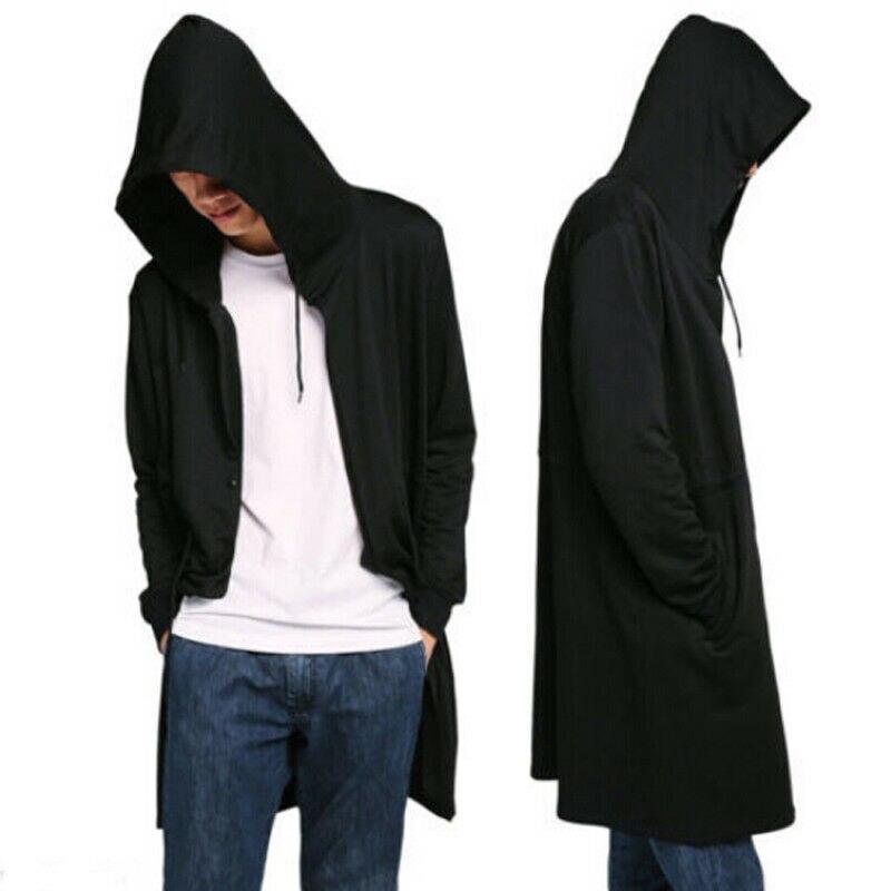 New Men Hooded Loose Trench Autumn Men Casual Long Cardigan Cloak Hipster Hip Hop Cape Coat Top