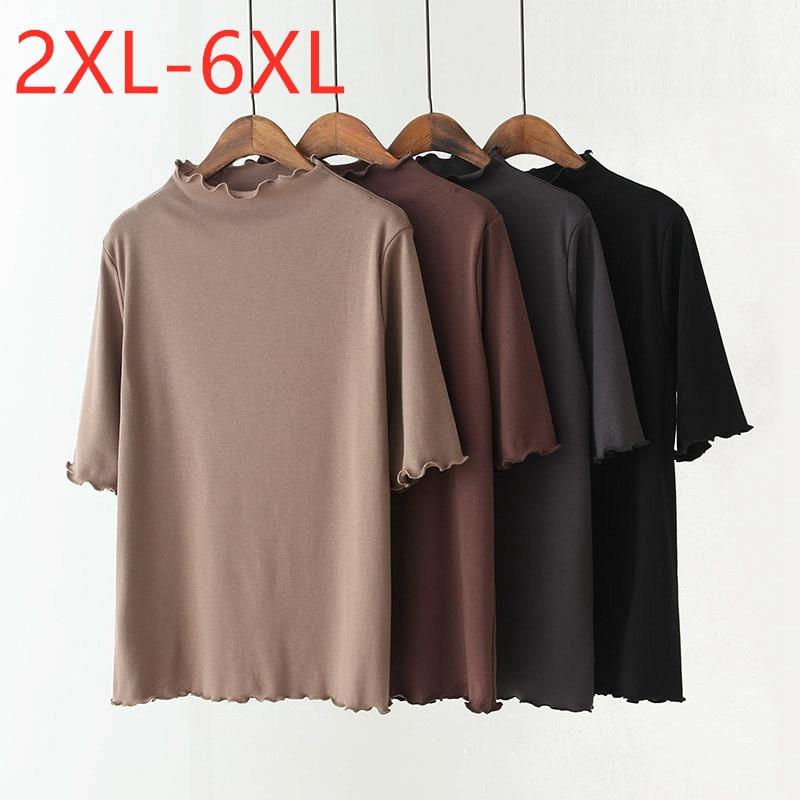 2020 Spring Autumn Korean Style Plus Size Basic Tops Shirt For Women Large Loose Casual Half Sleeve Khaki Blouse 3XL 4XL 5XL 6XL
