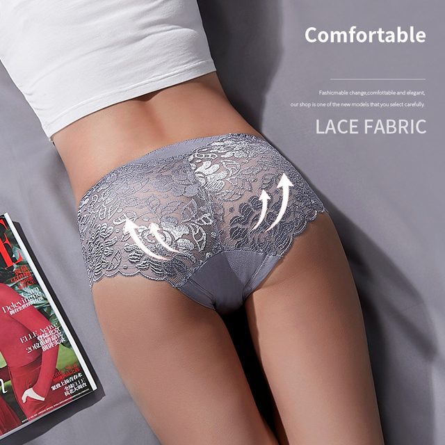 Women's Cotton Underwear Panties Sexy Lace Mid-Waist Hollow  4