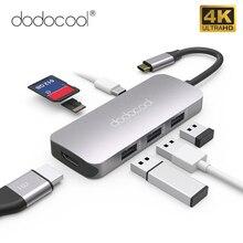 Dodocool 7 in 1 다기능 USB C 허브 4K HD 출력 포트 SD/TF 카드 판독기 PD 충전 포트 및 3 USB
