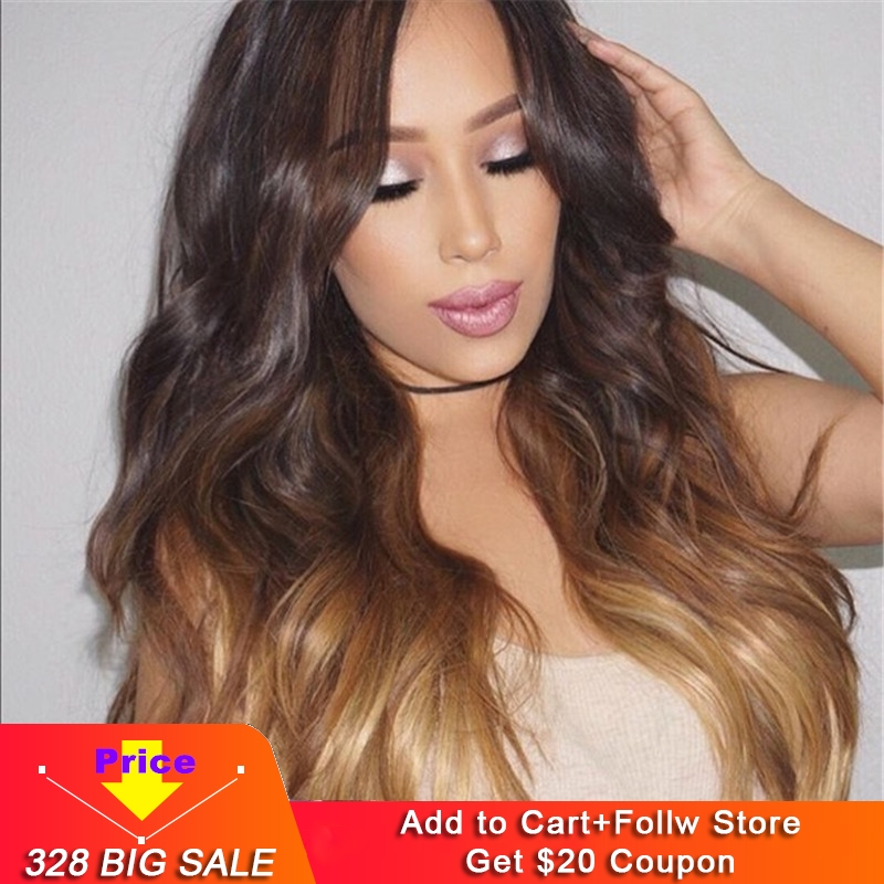13x6 Human Hair Lace Front Wigs Sunwell 150% Density Brazilian Human Hair Wigs For Women Body Wave #1B/4/27 Ombre Color 3 Tone